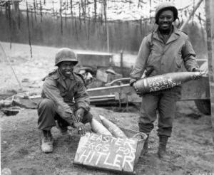 """Easter morning, T/5 William E. Thomas and Pfc. Joseph Jackson."" March 10, 1945. 1st Lt. John D. Moore."